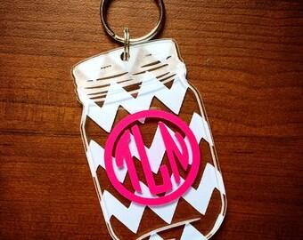 Mason Jar Monogram Keychain