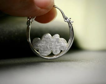 Sterling silver large hoop earrings with clouds