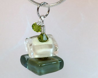 Necklace green cream glass art lampwork square beads stacked with crystals