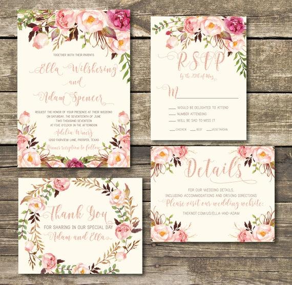 Rose Gold Printed Wedding Invitation Rose Gold Blush