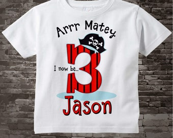 Three Year Old's Pirate Birthday Shirt Personalized Pirate Birthday Shirt or Pirate Onesie with Your Child's Name and Age 06082017b