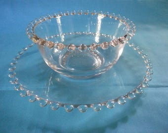Beautiful Vintage Clear Candlewick Under Plate and Bowl - Dip Set - Relish Set - Candlewick Mayonnaise Set - Candlewick