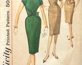 Wiggle Dress with Front or Back Tie & Kimono Sleeves Bust 34 Simplicity 3509 Vintage Sewing Pattern