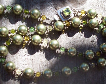 Vtg Faux Pearl & Crystal Sterling Silver Necklace 17 1/2 Inches