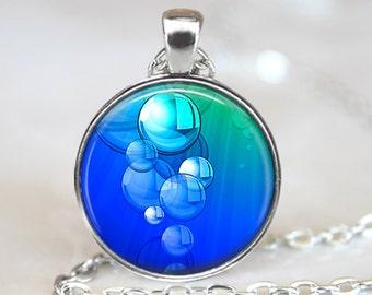 Abstract Art Pendant, Abstract Bubble Art Pendant, Abstract Art Necklace, Abstract Art Jewelry, Blue Bubble Art Necklace, Bronze Silver, 312