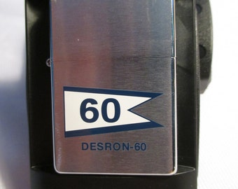 Zippo lighter of Desron 60 - U S Navy issue - Great tobacco item for a tobacconist  - A Military find! -  Estate find!