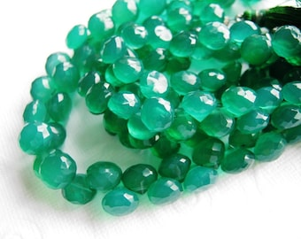 Green onyx faceted onion briolette- 7mm- 8 briollete