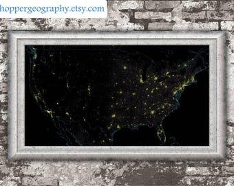 US population density heatmap (high resolution digital print) map print, wall art, poster map, printable, home decor, gift, wall decor, gift