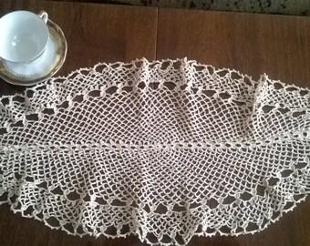 Crochet Doily, Vintage crochet doily,   Еcru  Crochet Dolily, Oval crochet dolily,  Large Crochet doily