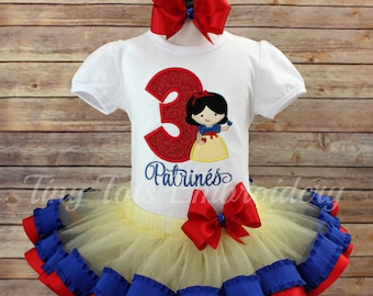 Snow White Birthday Tutu Outfit ~ Includes Top, Ribbon Trim Tutu and Hair Bow ~ Any colors of your choice!