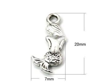 set of 5 Silver Tibetan 20 x 7 mm Mermaid charm