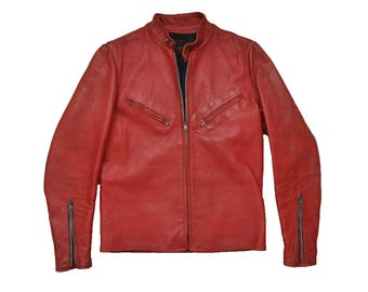 Vintage 1960s Kehoe Red Steerhide Leather Motorcycle Cafe Racer Jacket // M/L // Michael Jackson // Triumph // Bobber // Moto // 60s // 70s