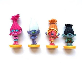 ON SALE 4 piece Trolls Cake toppers cupcake toppers trolls figures birthday party favors party supplies