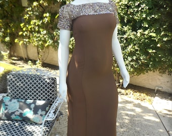 Vintage 1960's Emma Domb Brown Evening Dress - Size 14