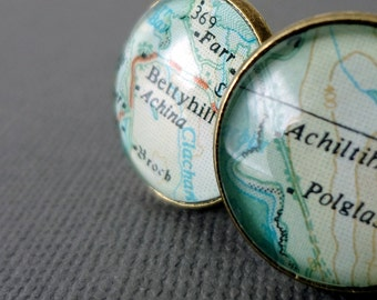 Personalized Map Jewelry, Custom Cufflinks, Bronze Gift Idea for Men