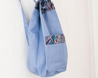 80s backpack denim cotton nautical maritime seaside bag rucksack gymsac vintage
