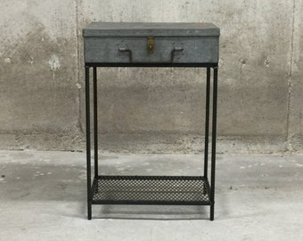 End Table Vintage Hinged Galvanized Metal Case with ReBar Legs and Mesh Shelf
