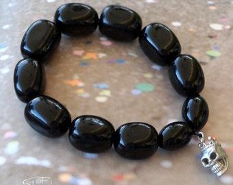 Black Onyx and Silver Skull Beaded Bracelet - Jupiter