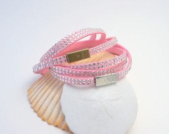 Pink Leather Wrap Bracelet | Pink Leather Cuff | Pink Suede Bracelet | Suede Wrap Bracelet | Triple Wrap Pink Cuff | Three Strand Bracelet
