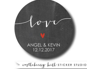 Love stickers, chalkboard stickers, chalkboard sticker labels, invitation stickers, envelope labels, labels for favors, cello bag stickers