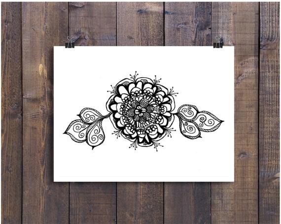 Line Art Flower Design : Black and white art pen ink flower design illustration