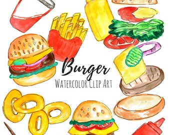 Burger clip art - Watercolor clip art - Hand drawn - Food Clip Art Fast Food   Commercial Use