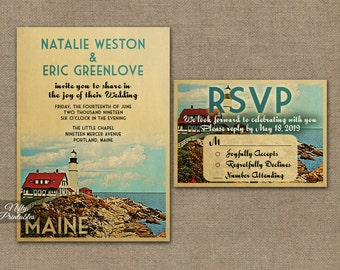 Maine Wedding Invitation - Printable Vintage Maine Wedding Invites - Retro Maine Wedding Set or Solo VTW