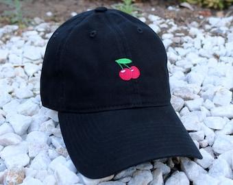 Cherry, Cherries Black Dad Hat Cap