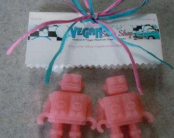 STRAWBERRY scented Robot Vegan Soap - Set of 2 Pink Robots - guest bath decorative