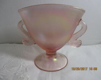 Vintage FENTON VELVA ROSE fan vase with Dolphin Handles ~ pink ~ Reduced
