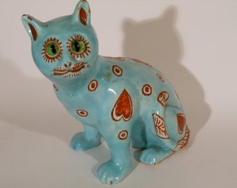 Early 20th century Mosanic pottery faience cat Galle style