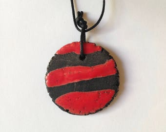 Raku ceramic necklace, raku necklace, ceramic necklace, red necklace, red pendant, raku pendant, red and black necklace