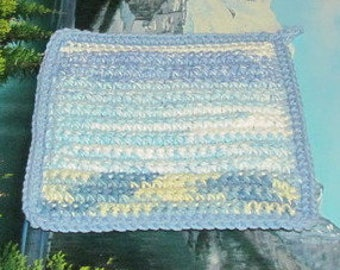 UHP 036 Hand crochet dbl thick cotton upcycle hot pad uhp