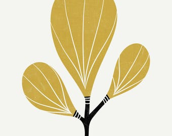 Paddle Leaf - Fine Art Print 8x10 - Mustard Yellow - Wall Art - Nursery - Retro  Mid Century - Botanical - Plant - Minimalist -