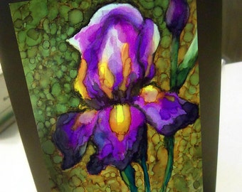 greeting card iris floral alcohol ink