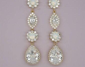 Chandelier Earrings Wedding Earrings Opal Bridal Jewelry Long Wedding Earrings Teardrop Earrings Swarovski Clear Crystals silver