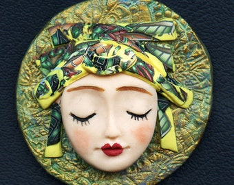 Face cab with abstract Caned hat   OOAK Polymer clay Detailed  ANGOG 9