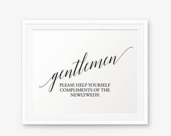 Wedding Bathroom Sign Printable, Mens Bathroom Printable, Wedding Restroom sign, Bathroom Basket Sign, Gentlemen sign, Style 1