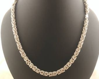 Sterling silver Chainmail NECKLACE SILVER, beautiful handcrafted bizantine