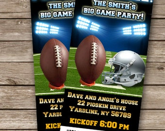 Big Game Party Invitation Football Invitation Football Party The Big Game Party Invites Sports Party Invite DIGITAL COPY ONLY