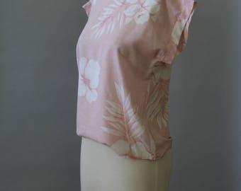 Vintage Boxy Shirt 80s Powder Pink Hawaiian Floral Minimalist Top Pink Palm Frond TShirt S M