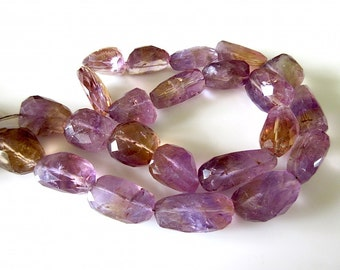 Ametrine Faceted Nugget Bead, Ametrine Tumbles, Natural Gemstones, 18mm To 24mm, 20 Inch Strand, SKUGDS110