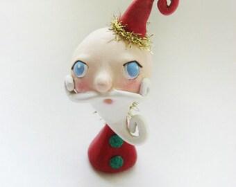 Whimsical Santa  -  Miniature Santa Doll - Paper Clay Sculpted - Christmas Santa - Made to Order