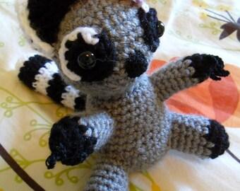 Raccoon Amigurumi Plush - Raccoon Plush - Raccoon Stuffed Animal - Raccoon Suffie - Raccoon Softie - Raccoon Doll - Raccoon Toy
