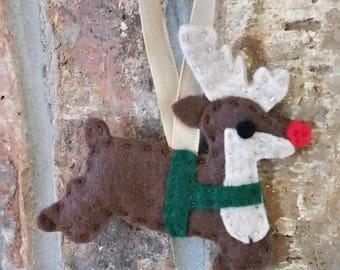 Felt Rudolph Reindeer Ornament; Felt Reindeer Christmas Ornament