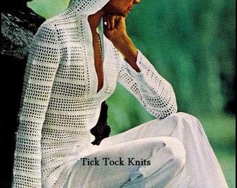 No.314 Womens Crochet Pattern 1970's Vintage PDF - Women's Lace Hooded Pullover Sweater - Retro Crochet Pattern