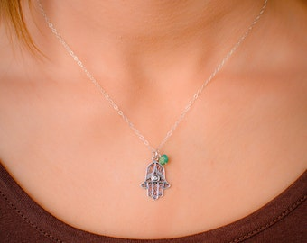 Sterling Silver Hamsa Necklace with Birthstone (Choose stone) - Delicate Hamsa Necklace, Filigree Hamsa Pendant, Evil Eye, Good Luck Charm