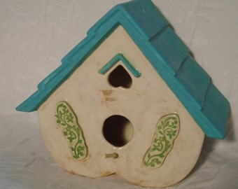 Handmade Heart Shaped Stoneware Birdhouse or Feeder, in Turquoise and Warm Cream