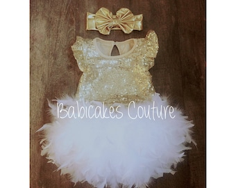 1st Birthday Outfit, Feather Birthday Outfit, Baby Gold Sequin Bodysuit, Gold Headband, White & Gold 1st Birthday, 1st Birthday Girl Outfit