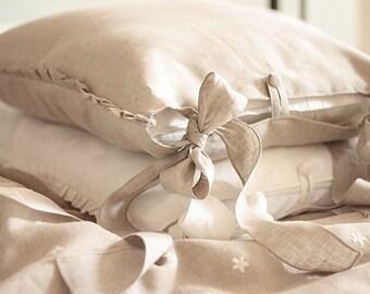 "Luxury Pure Linen pillow case 'Charlotte' with 2 long fastening ties - ruffles pillow case 20x26"" 20x20 20x30 26x26 20x36 - shabby euro sham"